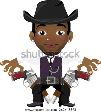 young dark-skinned guy with two revolvers in the hat - stock vector