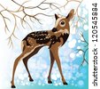 Young deer in a winter forest, vector illustration - stock photo