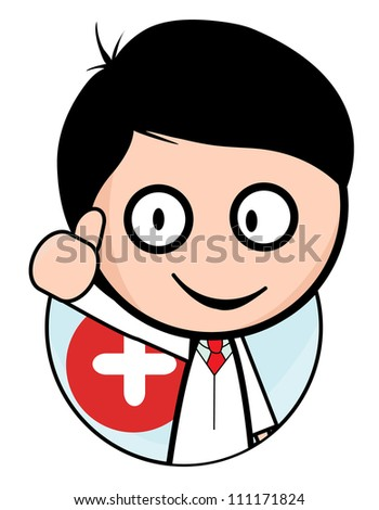 Young doctor isolated background circle - stock vector