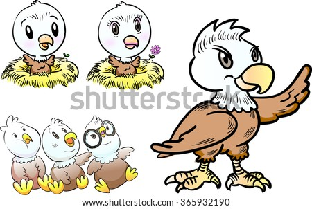 young eagle character  - stock vector