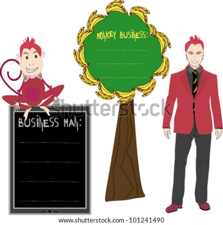 Young elegant casual man and monkey with message boxes - stock vector