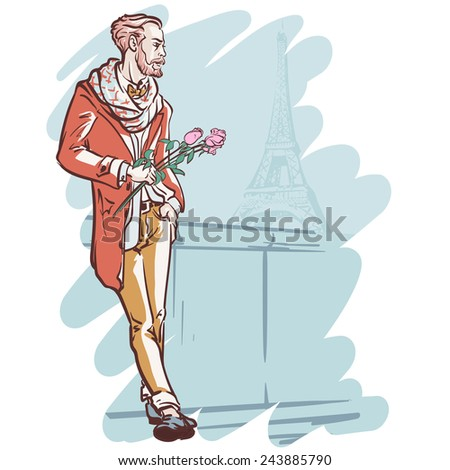 Young elegantly dressed man holding a bunch of roses standing with the Eiffel Tower in the background. EPS10 vector illustration. - stock vector