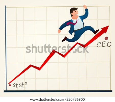 young employee rapidly promoted to the top rank - stock vector