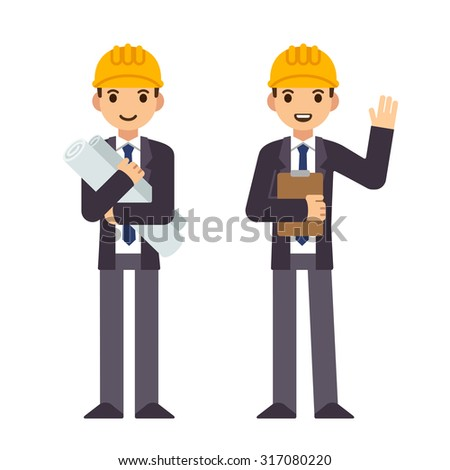 Young engineer in two poses, holding construction blueprints and waving and smiling. Modern flat style, cute cartoon vector illustration. - stock vector
