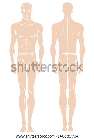 Young European man's full length standing body template: front and back - stock vector