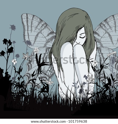 Young fairy hiding in weeds