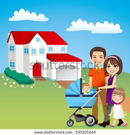 Young family happy outside in front of beautiful new house - stock vector