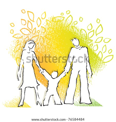 Young family icon - stock vector
