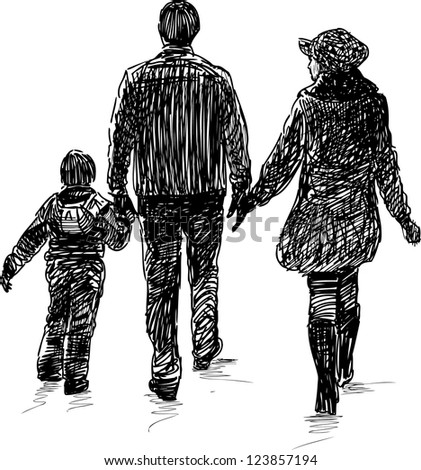 young family on a walk - stock vector