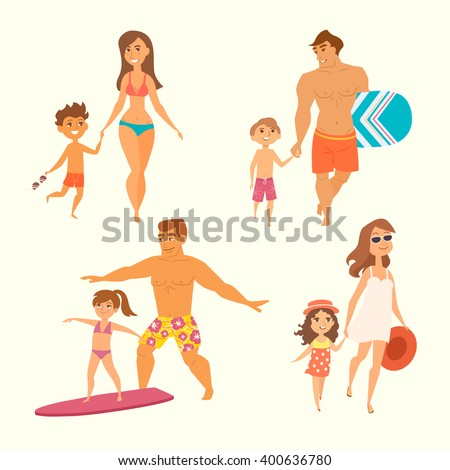 Young family with kids on vacation. Vector illustration of mother and son go to the beach; man and boy are going to surf; father teaching daughter. Funny cartoon characters isolated. Summer time. - stock vector