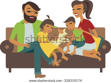 Young family with son and daughter together - stock vector
