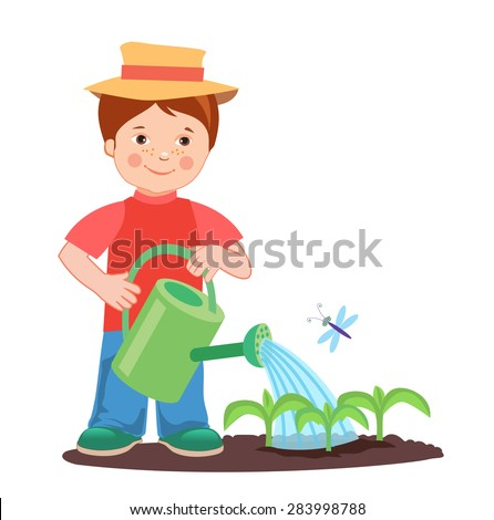Young farmer working in the garden. Garden watering. Cartoon vector illustration on a white background. Young farmer success. Farmer gifts. Farmer's son. Cultivating. Good job. - stock vector