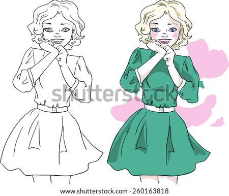 Young fashion girl standing - stock vector