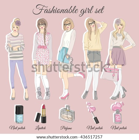 Young fashion girls illustration. Vector illustration. Background with fashion teen females in fashionable clothes. Fashion illustration. fashion, fashion, fashion, fashion, fashion, fashion, fashion