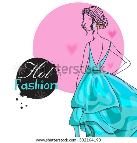 Young fashionable girl in beautiful gown for Hot Fashion on stylish hearts decorated background. - stock vector