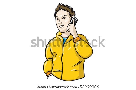 Young fashionable good-looking man talking on the phone. - stock vector