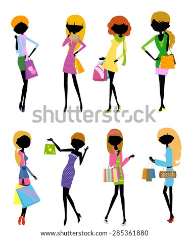 Young fashionable women shopping