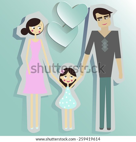 Young father and mother with their daughter.  - stock vector