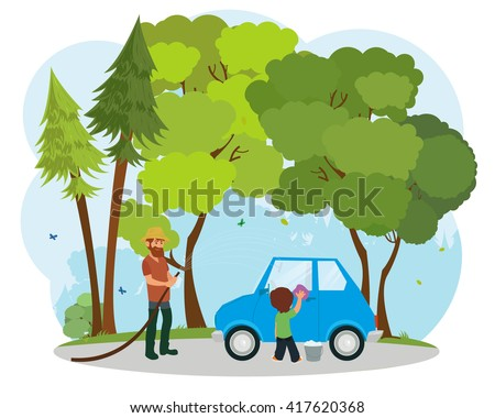 Young father with his little son washing car. man and boy washing car. vector - stock vector