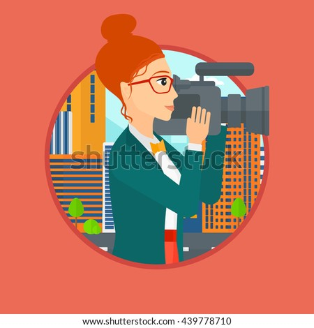 Young female cameraman looking through movie camera. Woman with professional video camera in the city. Woman shooting outdoor. Vector flat design illustration in the circle isolated on background. - stock vector