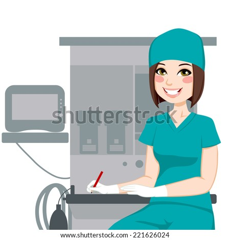 Young female nurse working writing documents in front of anesthetist medical equipment machine - stock vector