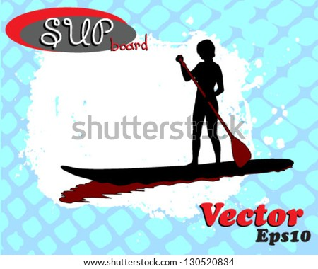 young female paddles a paddleboard. Grunge vector illustration.