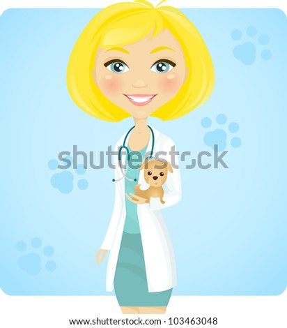 https://thumb1.shutterstock.com/display_pic_with_logo/949726/103463048/stock-vector-young-female-veterinarian-holding-cute-dog-103463048.jpg Girl
