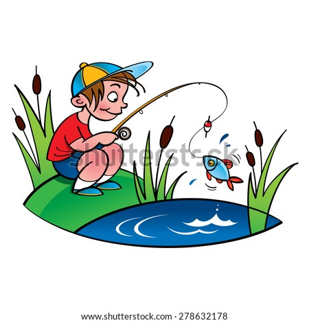 Young fisher - little boy fishing on the lake - stock vector