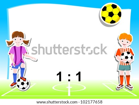 young football players with ball, background with football  (soccer) theme - vector illustration - stock vector