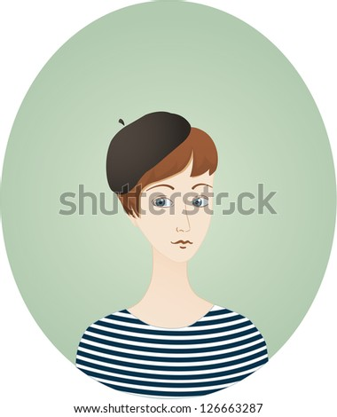 French woman stock images royalty free images vectors for French striped shirt and beret
