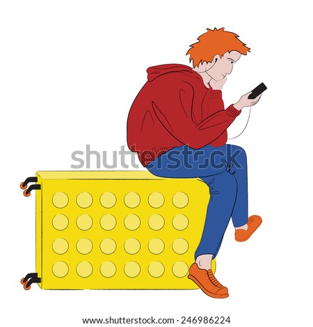 Young ginger male tourist in bright pop-art colored clothes with earphones sitting on his suitcase and looking on his mobile phone - stock vector