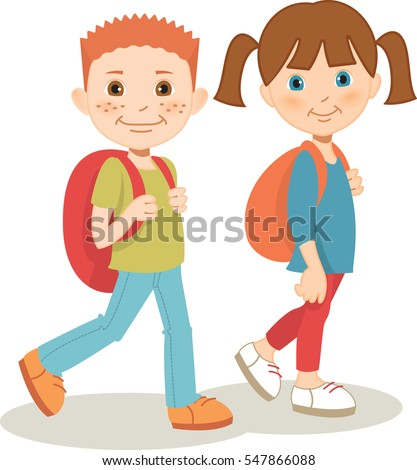 Young girl and boy carrying backpacks, cheerfully walking to school. Vector illustration