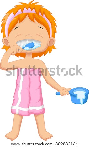 Young girl brushing teeth - stock vector