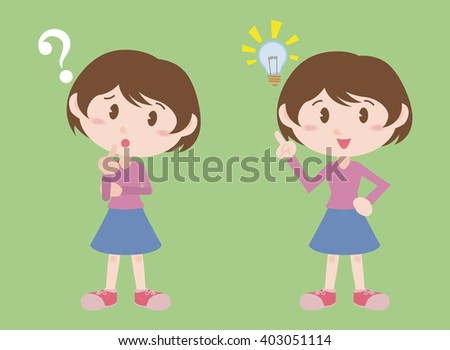 young girl character, posing question and inspiration, vector illustration - stock vector