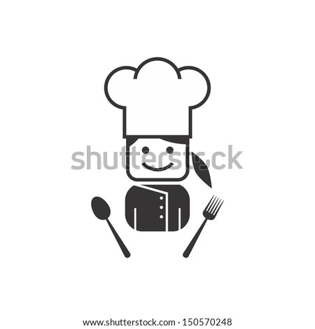 young girl chef - stock vector
