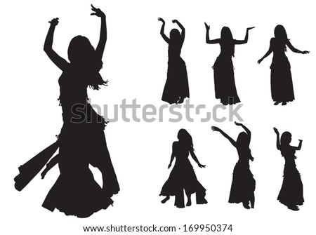 young girl dances east dance on stage  - stock vector