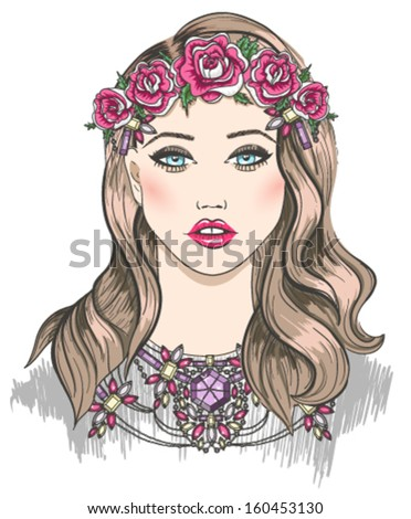 Young girl fashion illustration. Girl with flowers in her hair and statement necklace - stock vector