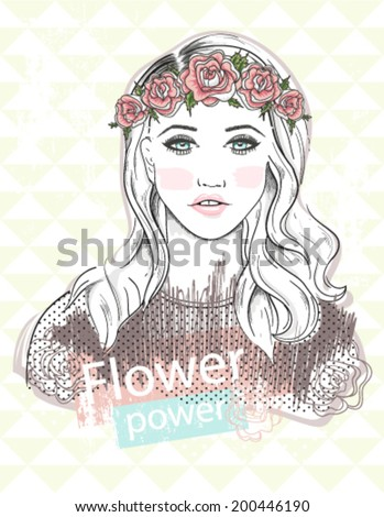Young girl fashion illustration. Pastel fashion trend. Girl with flower crown. - stock vector