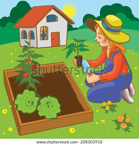 Young Girl / female working in her garden. Children summer activity ideas.Children illustration for School books, magazines and more. Separate Objects. VECTOR. - stock vector
