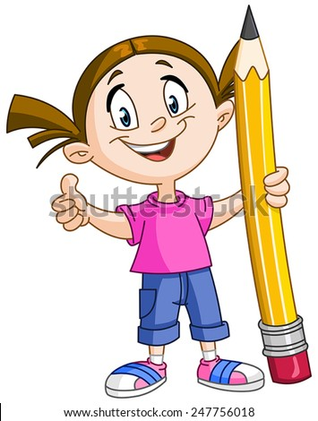 Young girl holding a big pencil and showing thumb up - stock vector
