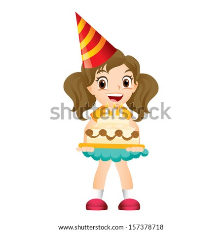Young girl holding a birthday cake - stock vector