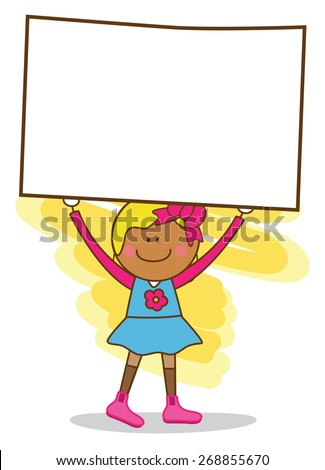 young girl holding banner - stock vector
