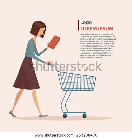Young girl in casual wear with shopping cart, vector illustration. - stock vector