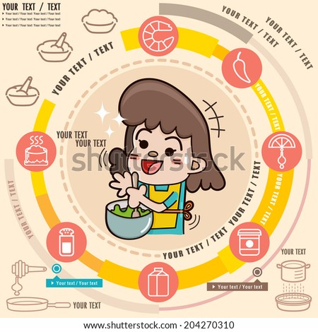 Young girl in the kitchen cooking, Food Info graphic set with icons set,  illustrator vector - stock vector