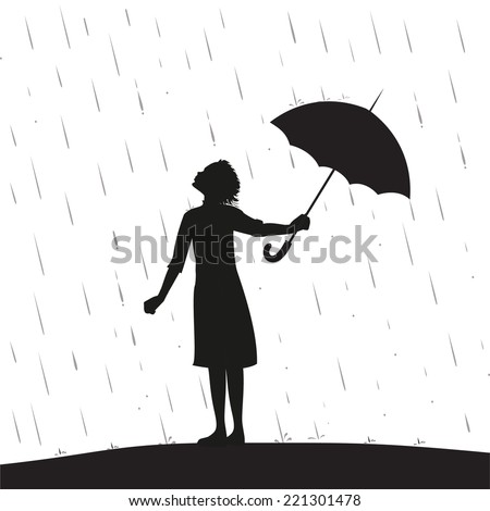 young girl is standing under the rain and take away the umbrella