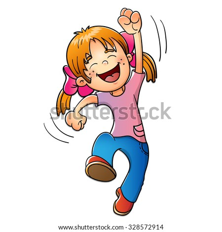 Young Girl  jumping isolated on white background - stock vector