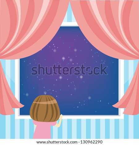 Young girl looking at the sky during the night time - stock vector