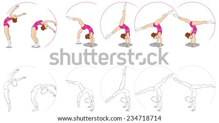 Young girl making an exercise for a rhytmic gymnastics. Consecutive poses. Two variations - sketch and colorful. - stock vector