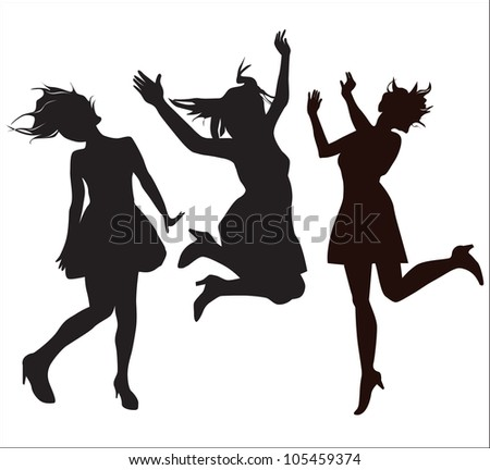 Young Girl (Silhouette figure jump)