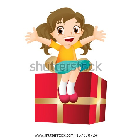 Young girl sitting on a big present - stock vector